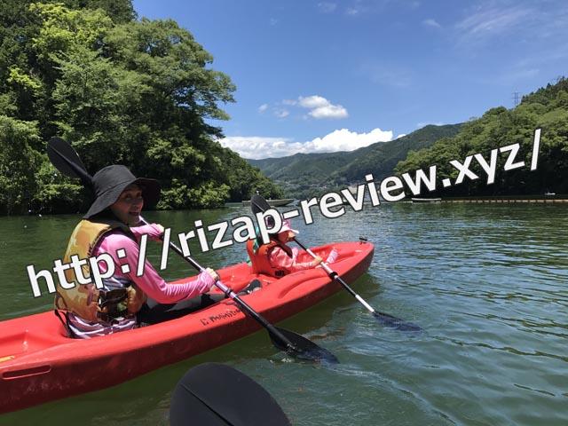 相模湖にある石滝キャンプ場で、カヌー体験と川遊び