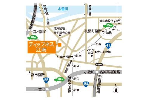 ティップネス江南店・map