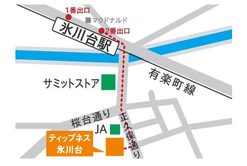 ティップネス氷川台店-map