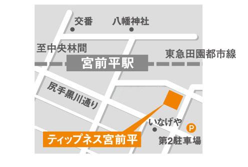 ティップネス宮前平店・地図