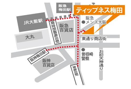 ティップネス梅田店・map