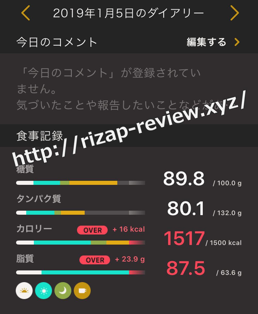 2019.1.5(金)ライザップの食事と摂取した栄養素