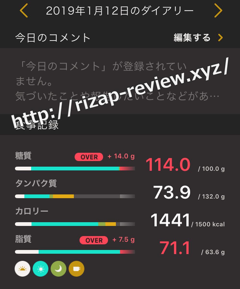 2019.1.12(土)ライザップの食事と摂取した栄養素
