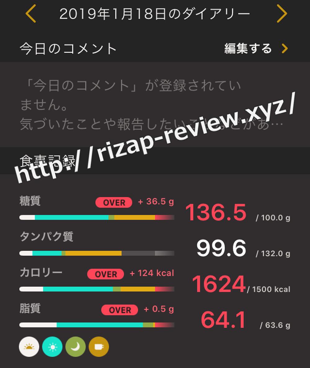 2019.1.18(金)ライザップの食事と摂取した栄養素