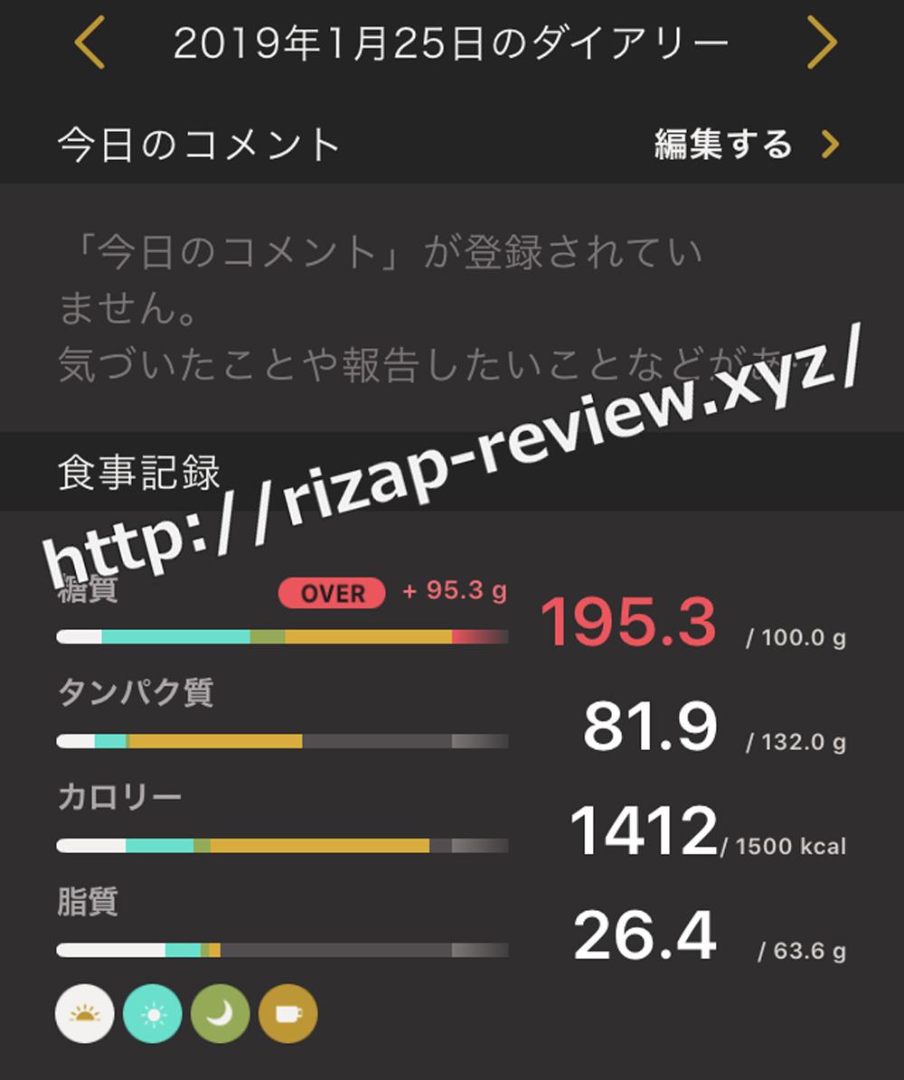 2019.1.25(金)ライザップの食事と摂取した栄養素