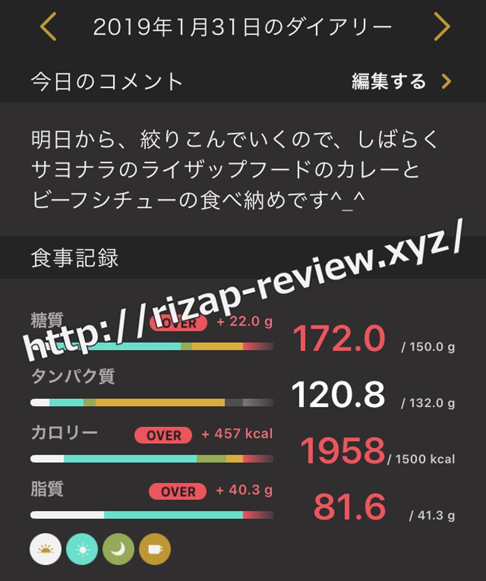 2019.1.31(木)ライザップの食事と摂取した栄養素
